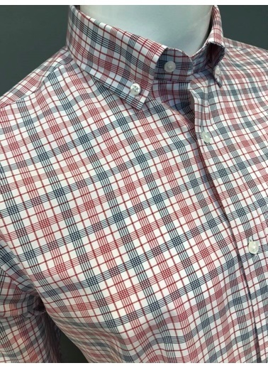 Abbate Kolay Ütülenır Düğmelı Yaka Ekose Regular Fıt Ceplı Gömlek Kırmızı